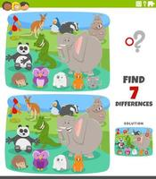 verschillen educatief spel met tekenfilm dieren vector