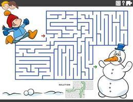doolhof educatief spel met jongen en sneeuwpop vector