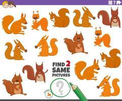 vind twee dezelfde eekhoorns educatief spel voor kinderen vector