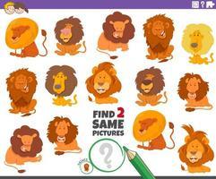 vind twee dezelfde leeuwen educatief spel voor kinderen vector