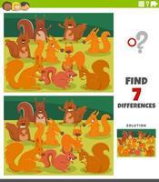 verschillen educatief spel met cartoon eekhoorns vector