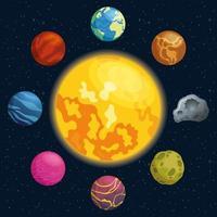 planeten rond van zon, ruimtepictogrammen vector