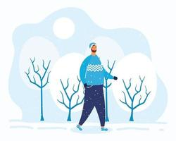 jonge man met baard in winterkleren in het snowscape-karakter vector