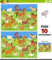 verschillen educatief spel met boerderijdieren vector