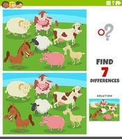 verschillen educatief spel met komische boerderijdieren vector