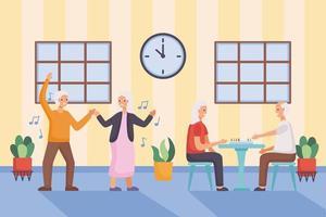 actieve senioren paren dansen en spelen ludo-personages