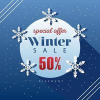 grote winter verkoop poster met letters in cirkelvormig frame vector
