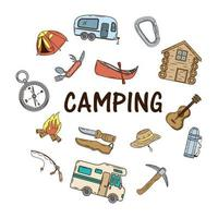 bundel campingpictogrammen en belettering vector