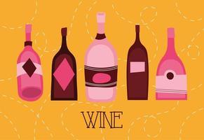 wijn premium kwaliteit poster met flessen vector