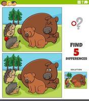 verschillen educatief spel voor kinderen met beren en egels vector