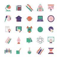 school en onderwijs vlakke stijl pictogramserie vector