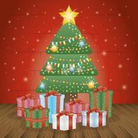 vrolijke kerstkaart met pijnboom en geschenken