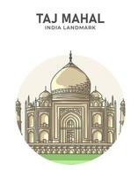 Taj mahal moskee india landmark minimalistische cartoon vector