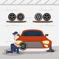 man monteur werkt in een auto, de banden verwisselen