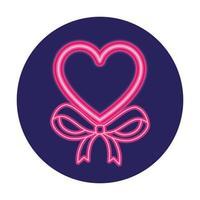 hart in neonlicht, valentijn dag vector