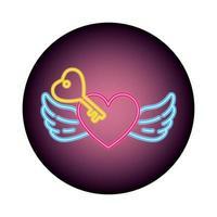 hart met vleugels in neonlicht, Valentijnsdag vector