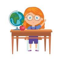 student meisje zit op school bureau op witte achtergrond vector
