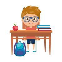 student jongen zit op school bureau op witte achtergrond vector