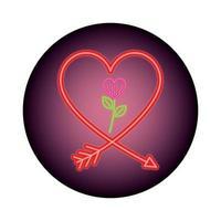 silhouet van hart in neonlicht, Valentijnsdag vector