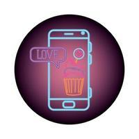 smartphone met tekstballon in neonlicht, Valentijnsdag