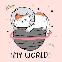 schattige astronaut kat zittend op een planeet vector