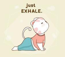 schattige witte kat doet yoga