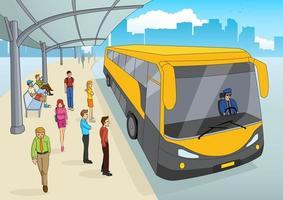 mensen bij het busstation vector