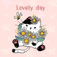 schattige witte kat met bloemen