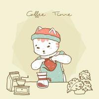 schattige hipster barista kat in schort koffie gieten