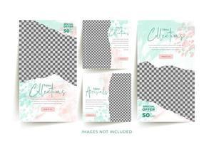 mode sociale media sjabloon ingesteld met abstracte aquarel en gescheurd papier achtergrond