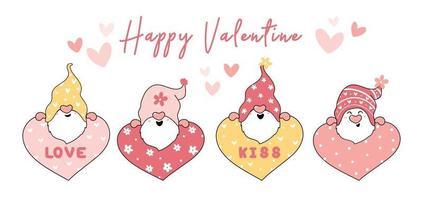schattige valentijn kabouter set vector