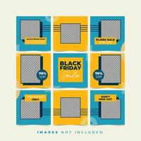 zwarte vrijdag mode meisje sociale media puzzel vector
