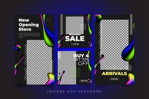 kleurrijke vloeibare neon sociale media sjablonen set