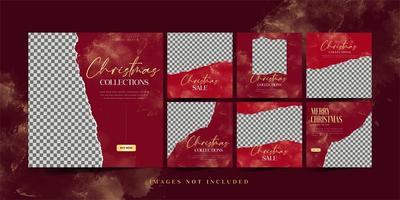 Kerst mode verkoop sociale media sjabloon set vector