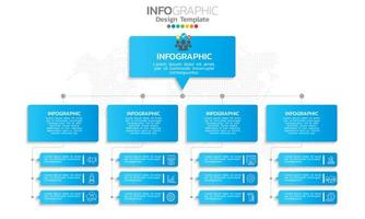 stroomdiagram infographic met pictogrammen blauw thema vector