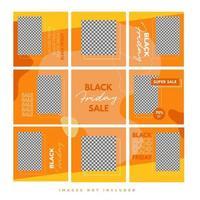 trendy kleurrijke zwarte vrijdag sociale media puzzelsjabloon voor productverkoop en kortingspromotie