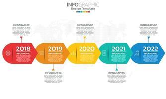 tijdlijn infographic sjabloon met pijlen en 5 opties plat ontwerp vector