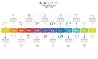 tijdlijn infographic sjabloon met 12 label, 12 maanden 1 jaar met stappen en opties. vector