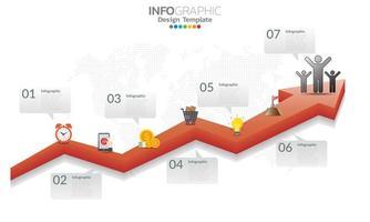 tijdlijn infographic sjabloon met pijlen en 7 opties plat ontwerp vector