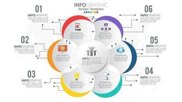 infograph 6-staps kleurenelement met cirkel grafisch grafiekdiagram, bedrijfsgrafiekontwerp.