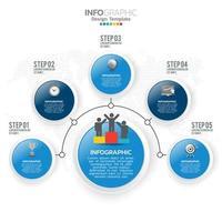 zakelijke infographic elementen met 5 secties of stappen blauw thema vector