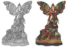 hand getrokken fee engel henna stijl abstracte achtergrond. vector overzicht abstracte tekening. kleurboekpagina voor volwassenen en kinderen.