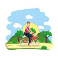 vrouw met een fiets buitenshuis vector