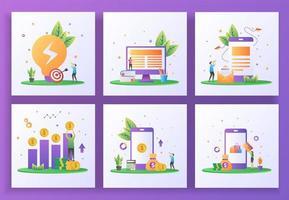 set van platte ontwerpconcept. zakelijke oplossing, online leren, e-mailmarketing, rendement op investering