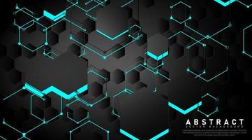 overlappende zwarte en blauwe vormen en zeshoekige lijnen achtergrond