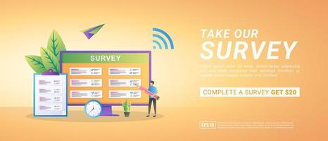 neem een online enquêteconcept. ontvang commissie van online enquêtes. beantwoord vragen en ontvang prijzen. vector