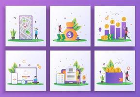 set van platte ontwerpconcept. gps, boekhouding, rendement op investering, updatesysteem vector