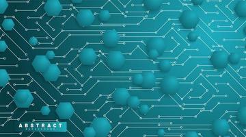 abstract vector technische achtergrond. blauwe zeshoek met een achtergrondverbindingslijn. toekomstig 3D-printplaattechnologieontwerp