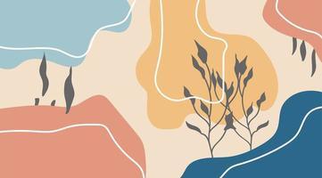 pastel kleur sjabloon met abstracte botanische en organische vormen ontwerp vector