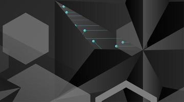 abstract vector geometrische achtergrond. donkergrijs vector veelhoekige sjabloon en blauwe lijn verbonden stippen